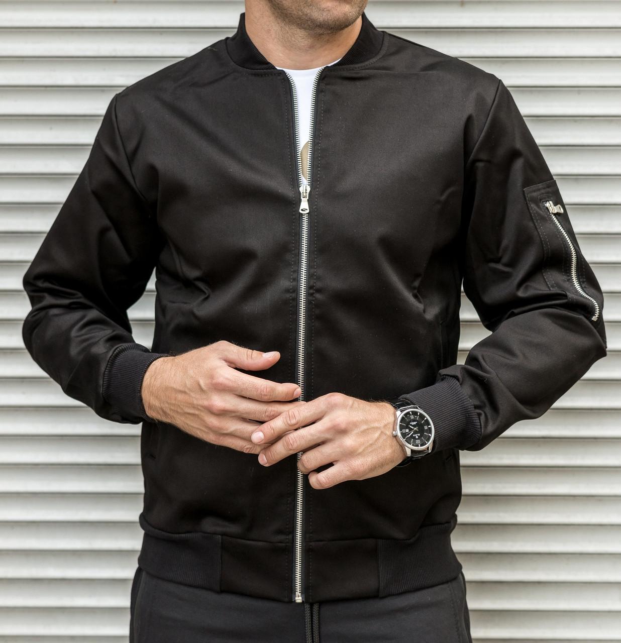 82cb368209b7 Куртка мужская из плотной ткани / ветровка / бомбер черный: продажа ...