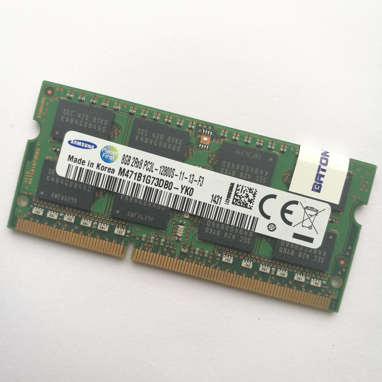 Оперативная память для ноутбука Samsung SODIMM DDR3L 8Gb 1600MHz 12800S CL11 (M471B1G73DB0-YKO) Б/У
