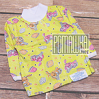 Тонкая хлопковая кофточка р 74 (5 6 7 месяцев) на кнопках для новорожденного детская ткань КУЛИР 4613 Желтый