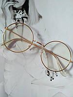 Круглые имиджевые очки тишейды  с анти блик №3 Золото
