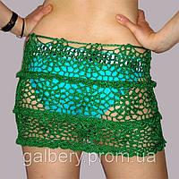 Вязаная летняя юбочка с фестонами ручной работы изумрудно-зеленого цвета