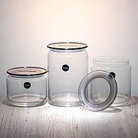 Набор банок для сыпучих продуктов « Plano N3454 »  с серыми крышками.