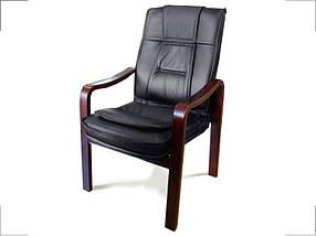 Кресло для конференций Новаро комбинированная кожа люкс Черная (Диал ТМ)