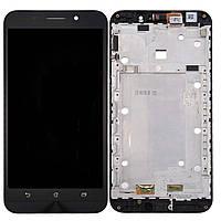 Дисплей (экран) Asus ZenFone MAX (ZC550KL-6A076IN) с тачскрином и рамкой в сборе, черный
