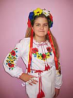 """""""Маки с подсолнухами""""  блузка вышиванка для девочки ( 152 - 170 р. )"""