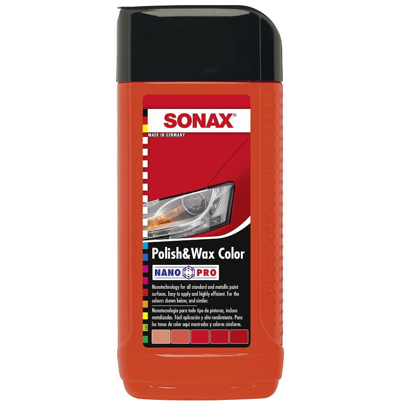 Цветной полироль с воском (красный) SONAX Polish & Wax Color NanoPro 250 мл