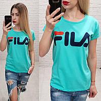 Женская футболка лето Фила мята Турция оптом