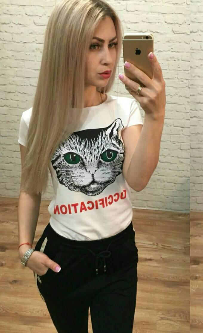 Женская футболка GUCCI Турция р. S-M универсальный