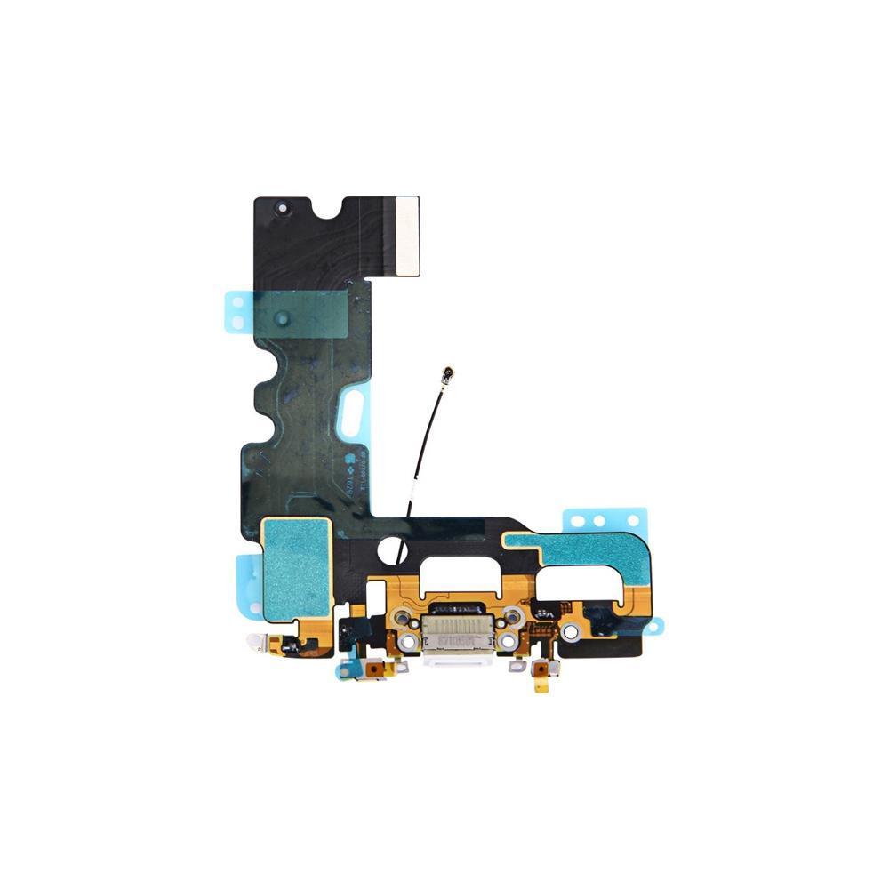 Шлейф (Flat, Flex cable) Apple iPhone 7 с гнездом зарядки и компонентами White