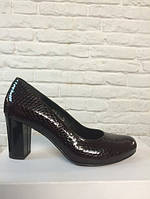 Туфли на широком каблуке бордовый (О-620), фото 1