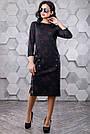 Женское повседневное платье, размеры от 44 до 50, чёрное с принтом, молодёжное, классическое, элегантное, фото 4