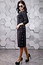 Женское повседневное платье, размеры от 44 до 50, чёрное с принтом, молодёжное, классическое, элегантное, фото 5