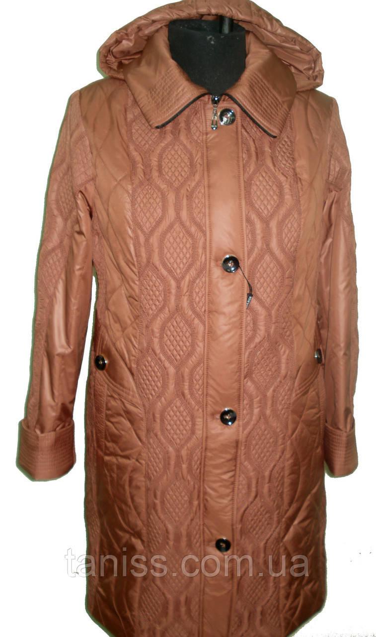 Весенняя,демисезонная,стеганная куртка большого размера,размеры 50,52,54,56, терракот(18)