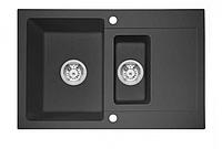 """BS  Кухонна мийка врізна-гранітна-оборотна Blac-Stone """"BS"""" Duos (8 кольорів) Сірий"""