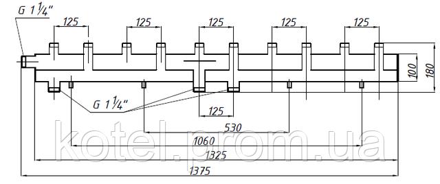 Схема и размеры коллектора СК 592.125 на 6 контуров