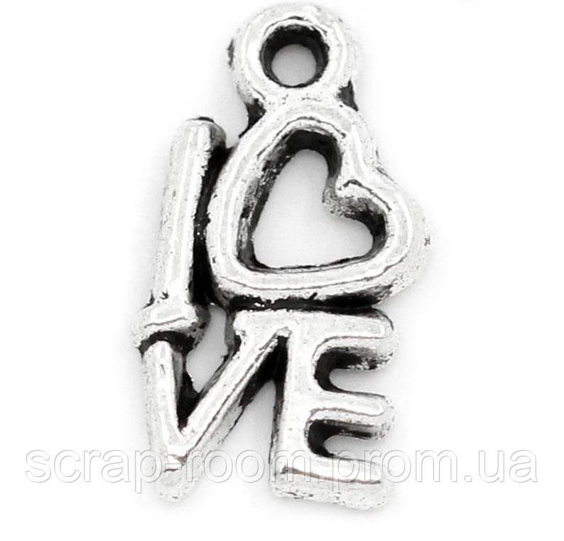 Подвеска металлическая Love серебро 14*8 мм