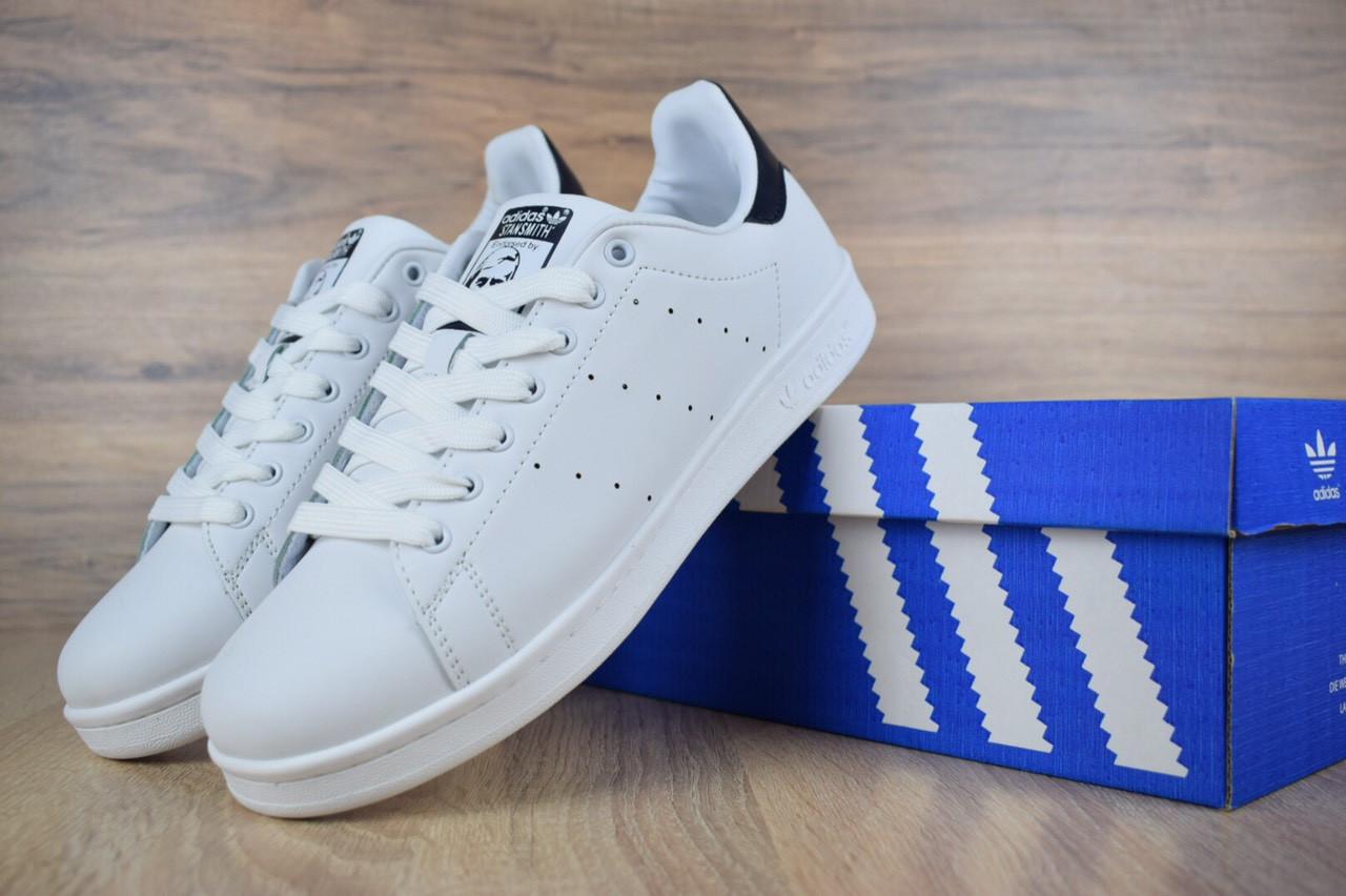 Кеди чоловічі Adidas Stan Smith шкіряні низькі зручні на шнурівці (білі), ТОП-репліка