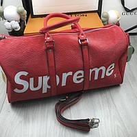 9e1ec569b69b Трендовая мужская дорожная сумка Supreme красная эко кожа вместительная  унисекс Суприм люкс реплика