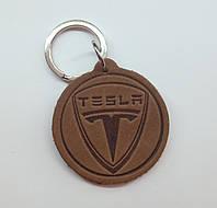 Кожаный брелок / Марки авто / Tesla, фото 1
