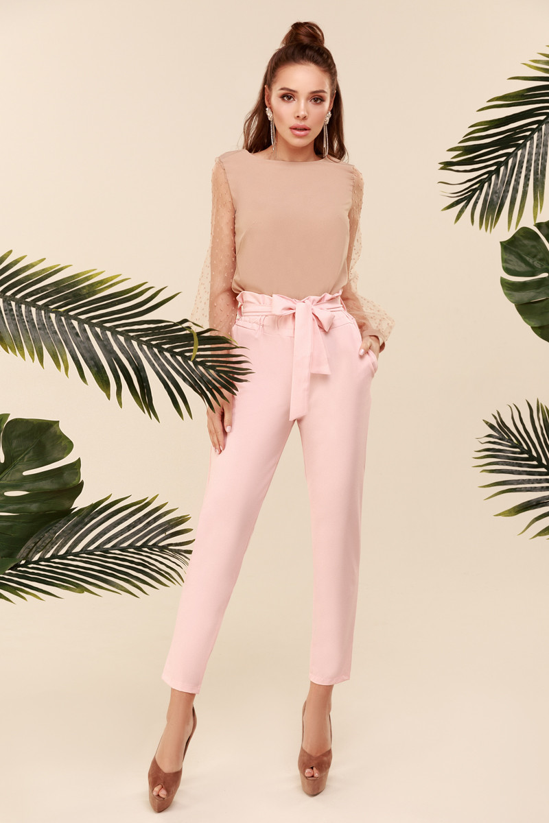 Женские брюки с завышенной талией Персиковый