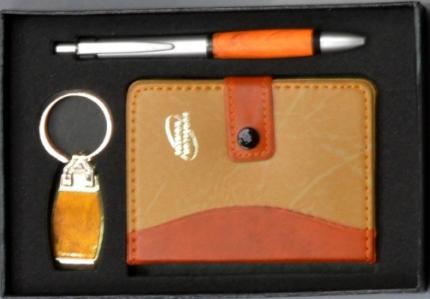 Набор Подарочный ( шариковая ручка, блокнот, брелок ) Светлая кожа