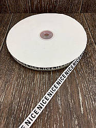 Лента респ с надписью NICE белая 100 ярд, ширина 1 см