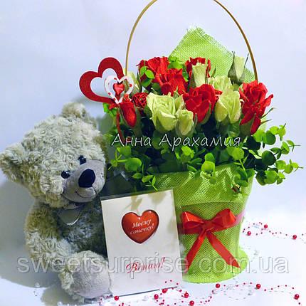 Подарочный букет с игрушкой на День влюбленных, фото 2