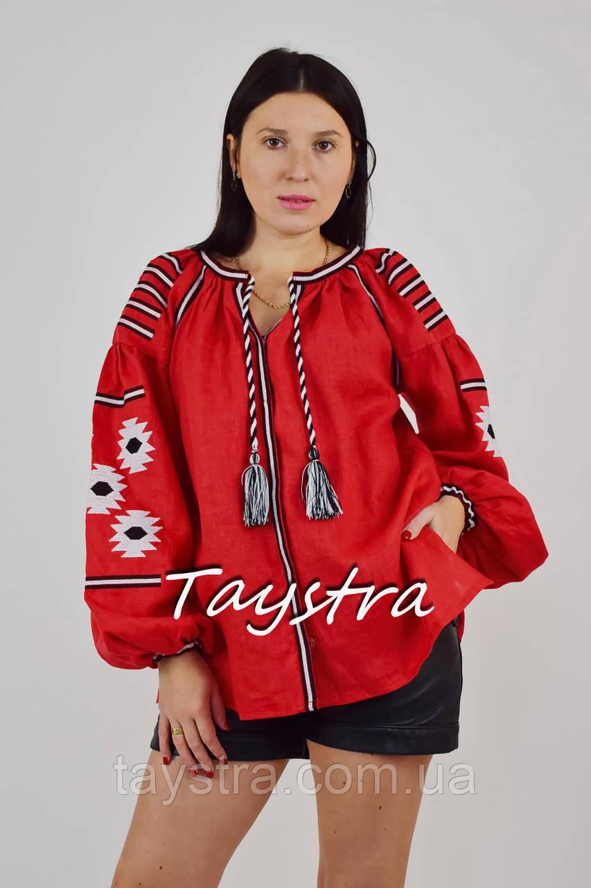 Блузка вышиванка красная лен, красная блуза этностиль