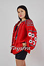 Блузка вышиванка красная лен, красная блуза этностиль, фото 2