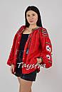 Блузка вышиванка красная лен, красная блуза этностиль, фото 3