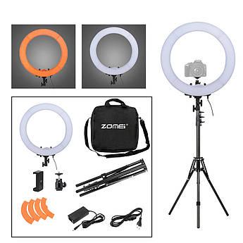 """Кольцевой LED осветитель ZOMEI 18"""" со стойкой и димером - для портретной, бьюти и селфи съемки"""
