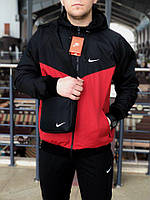 Комплект Ветровка Windrunner Jacket Nike + спортивные штаны, цвет черный + красный. Барсетка в подарок