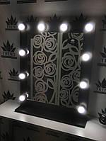 Зеркало с подсветкой коричневое