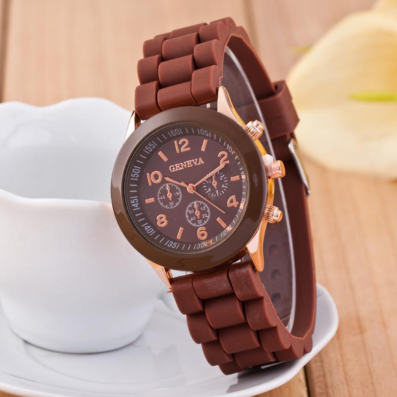 Жіночі наручні силіконові годинник Geneva brown