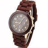 Жіночі наручні силіконові годинник Geneva brown, фото 3