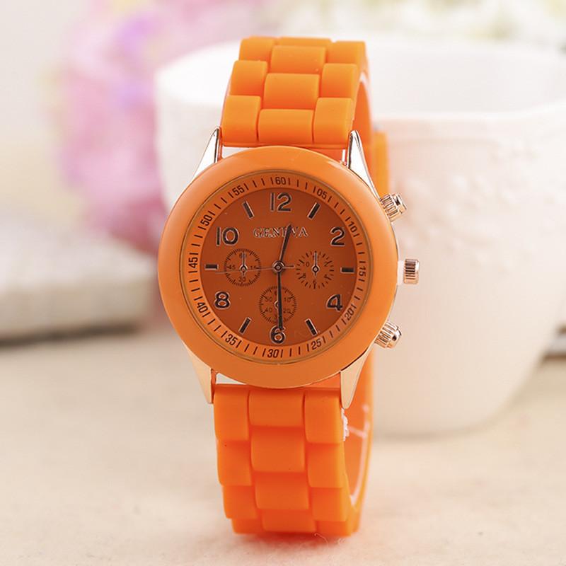Жіночі наручні силіконові годинник Geneva orange