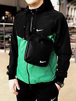 Комплект Ветровка Windrunner Jacket Nike + спортивные штаны, цвет черный + зеленый. Барсетка в подарок, фото 1