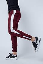 Штаны спортивные Rocky (Рокки) бордовые с белой вставкой, фото 3
