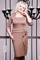 Платье женское батальное ДАША БЕЖ 50,52,54,56р полуприлегающего силуэта пояс с декоративными элементами и укра