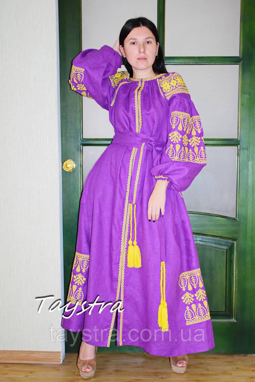 Платье вышиванка платье лен, фиолетовое платье вышитое золотой нитью
