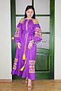 Платье вышиванка платье лен, фиолетовое платье вышитое золотой нитью , фото 2