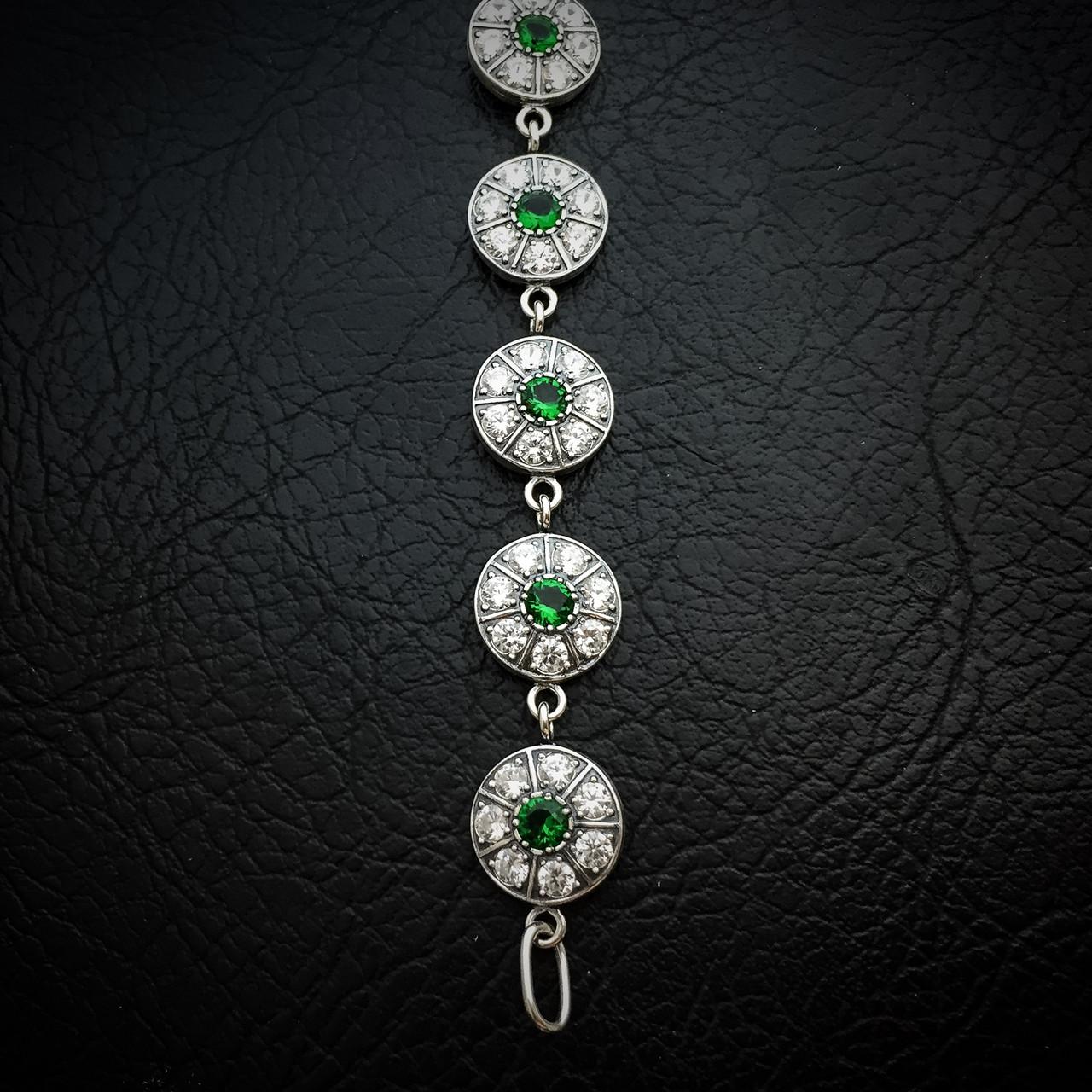 Серебряный женский браслет с камнями, 195мм