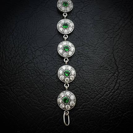 Серебряный женский браслет с камнями, 195мм, фото 2