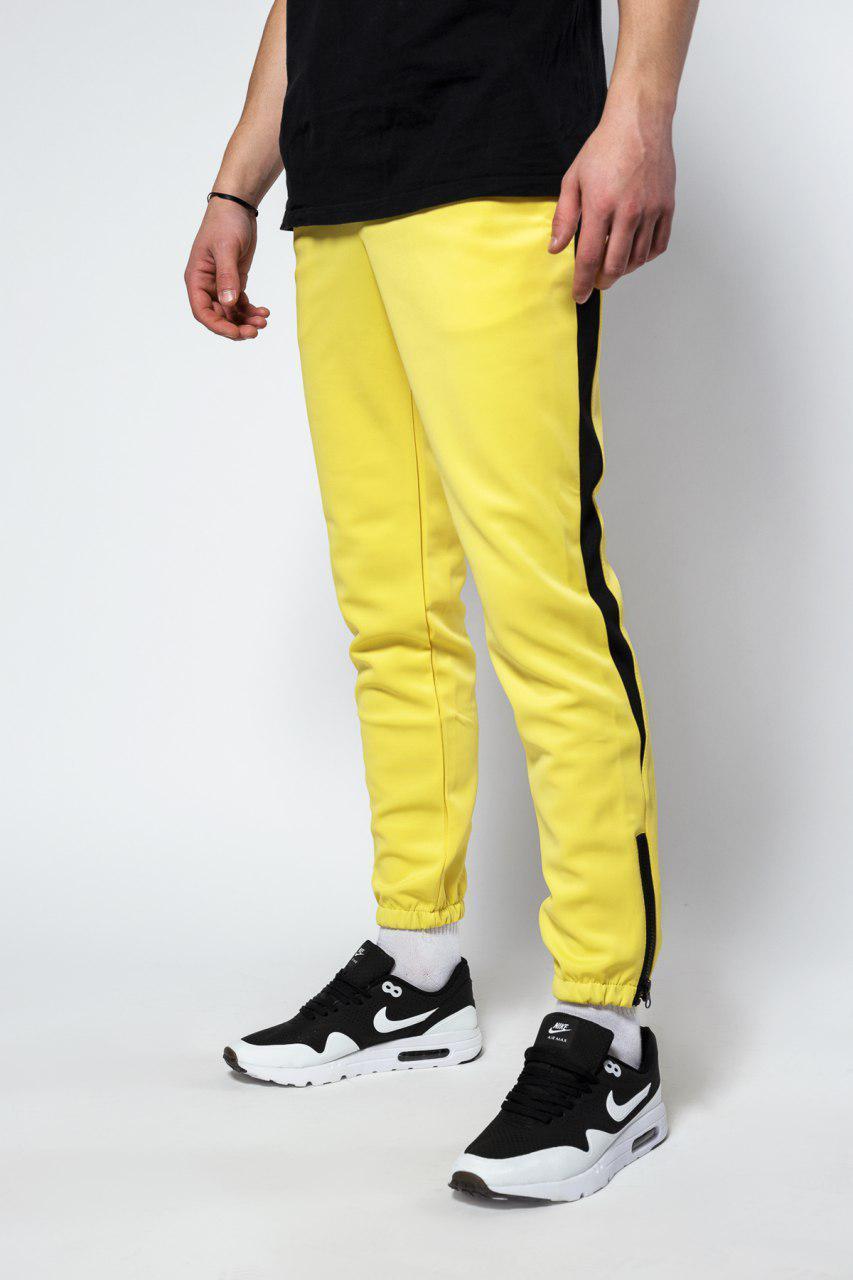 Штаны спортивные Rocky (Рокки) жёлтые с чёрной вставкой