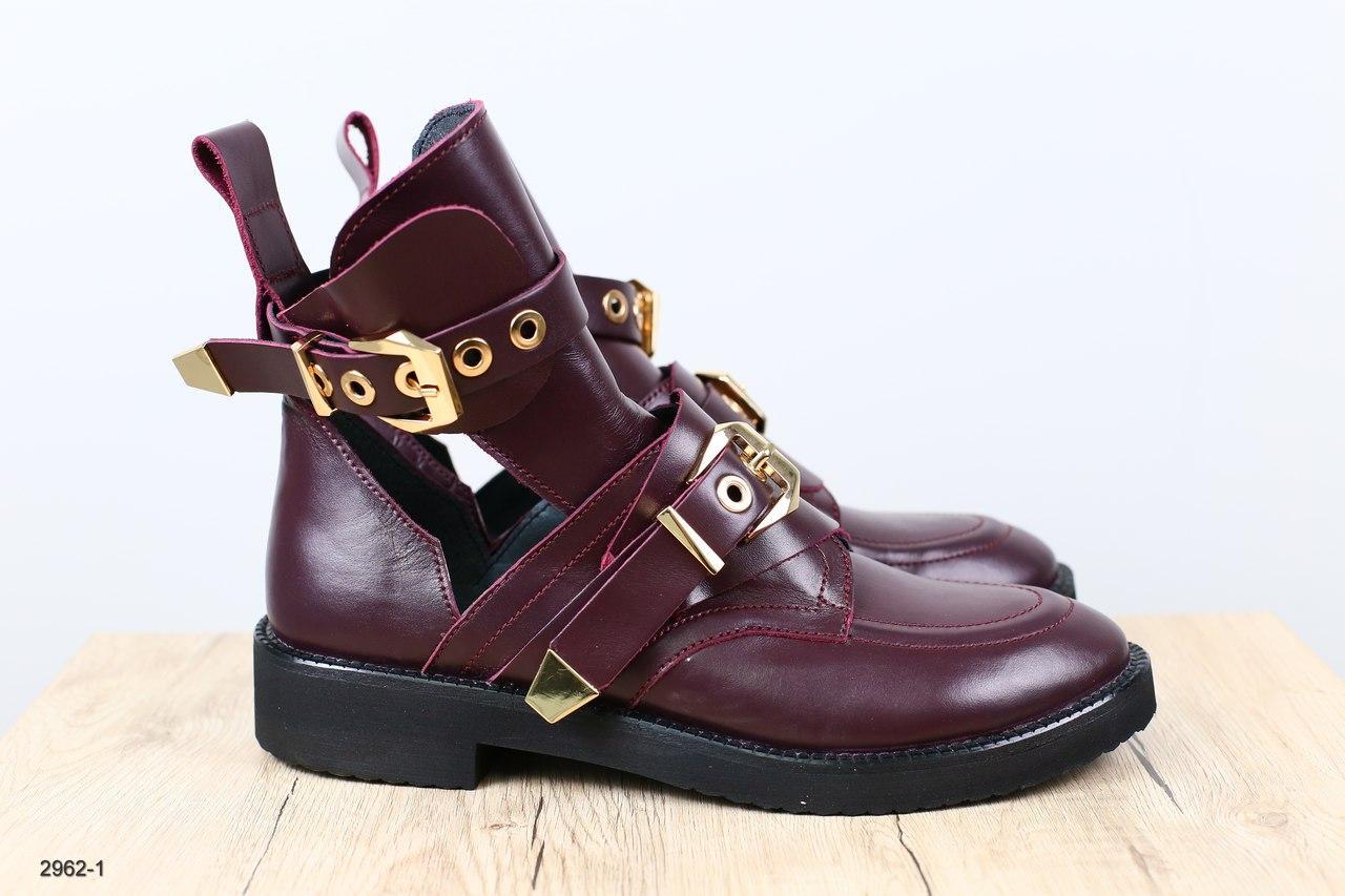 0bf2598ea Женские ботинки, кожаные, бордовые, на золотистых ремнях : продажа ...