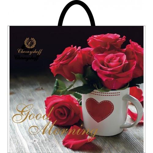 Полиэтиленовый пакет с пластиковой ручкой (сумка) ''Роза'' 380*340, 10 шт