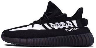 Мужские кроссовки Adidas Yeezy Boost 350 x Off-White Black (адидас изи буст 350 x офф вайт, черные)