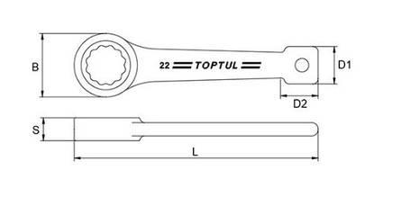 Ключ накидной односторонний (ударный) 60мм Toptul AAAR6060, фото 2