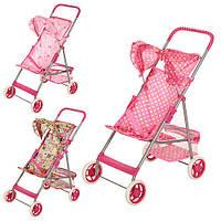 Детская коляска для куклы с металлическим каркасом Прогулочная 9304: 3 цвета, корзина для игрушек