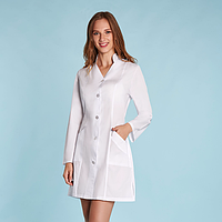 Жіночий медичний халат білий габардин, фото 1